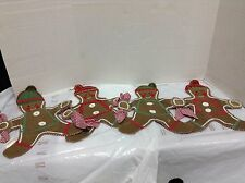 Pottery Barn Kids PBK Gingerbread Men Man Christmas Place Mats Napkins Set 4