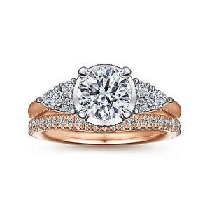 14K Multi Tone Gold 1.20 Ct Three Stone Diamond Engagement Ring Size L M N O P Q