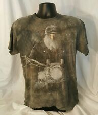 Eagle Riding Motorcycle / American Flag T-Shirt - Sz: M - Gray Tie-Dyed