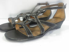 Natural Soul By Naturalizer Pretty Black Faux Leather Strappy Open Toe Sandals