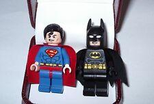 HAND MADE SUPERMAN BATMAN LEGO CUFFLINKS BEAUTIFUL JEWELRY BOX- WEDDING BESTMAN
