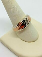 AWESOME! MEN'S 10K WHITE & ROSE SOLID GOLD DIAMOND BAND .06 TW SIZE 9.5