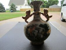 Ornate SATSUMA Tropical Pheasants & Gold Foo Dogs Decorated Porcelain Vase