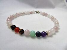 """Gemtone Balance Crystal Healing Natural 10"""" Rose Quartz Anklet Bracelet 7 Chakra"""