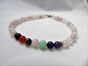 """Rose Quartz Anklet Bracelet 7 Chakra Gemtone Balance Crystal Healing Natural 10"""""""