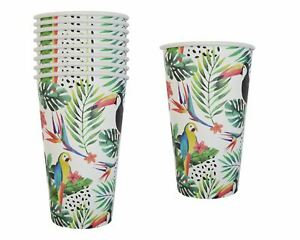 Pack of 16/32 Paper Tumblers Tropical Parrot Leaf Design Summer Party Picnic