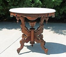 Victorian Walnut Fancy Oval Marble Top Parlor Lamp Side Table Bowl Finial c1875