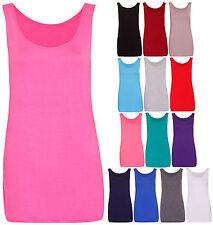 Womens New Sleeveless Ladies Scoop Neck Stretch T-Shirt Vest Tank Top Plus Size