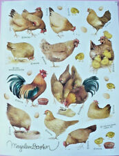 Marjolein Bastin Stickers Hens Chicks Rooster Hallmark Sketchbook