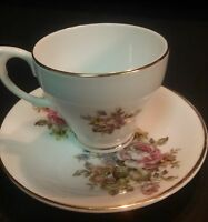 Crownford Fine Bone China Floral Small Teacup and Saucer Made in England
