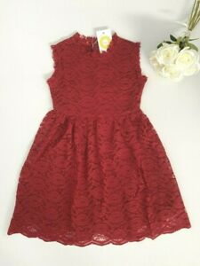size 4-5y to 10-11 years new girls dress dark rose red floral lace girls dress