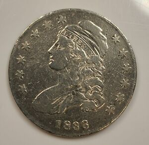 1836 Capped Bust Half Dollar 50c Coin with Fine F Details