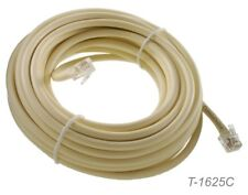 25ft 6C Round RJ12 6P6C 24AWG Solid Copper Telephone Cable, 1:1, T-1625C