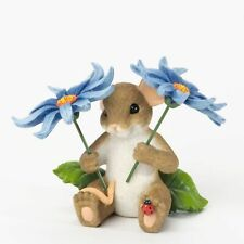 """Charming Tails Mouse Fig 2.5"""" Beautiful Think Of You Spring Flowers #4035615 Nib"""