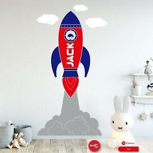Space Rocket Wall Art Sticker Personalised Kids Bedroom Nursery Vinyl Decal