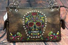 Skull Shoulder Bag Purse Rhinestone Bling Metal Stud NWT Conceal Carry Pocket