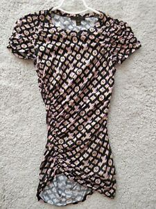 Louis Vuitton Monogram Womens Cotton Tunic Blouse Dress Top Shirt Black Pink