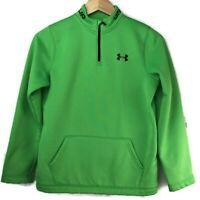Under Armour Boys Neon Green Cold Gear Quarter Zip Pullover YLG Fleece lined