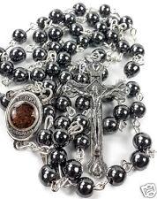 Hematite Rosary Black Stone Beads Necklace With Jerusalem Holy Soil & Cross