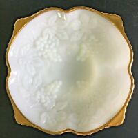 Vintage Anchor Hocking White Milk Glass Footed Bowl w/ Gold Trim, Grapes