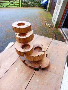 Handmade log t-light holder