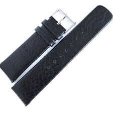NEXT 22mm BLACK GENUINE LEATHER WATCH STRAP. LIGHTLY GRAINED. SILVER BUCKLE