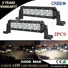 2X 8inch 18W Flood Cree LED Light Bar Offroad 4WD Boat ATV Driving UTE Fog Lamp