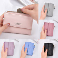 Women Solid Color Leather Wallet Clutch Purse Ladies Short Handbag Phone Purse