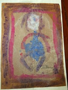 Sybil Gibson folk art painting  Outsider Dancing Woman signed  early one #1132