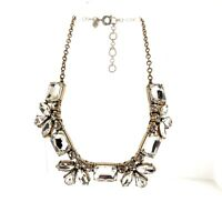 J. Crew Clear Crystal Rhinestone Floral Necklace Gold Tone