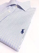 """Ralph Lauren Men's 16.5"""" 32/33 Dress Shirt Blue On White Pencil Stripes Size L"""