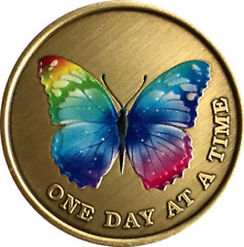 Butterfly Color One Day At A Time Medallion AA NA Serenity Prayer Sobriety Coin