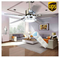 "52""Control Remote Stainless Steel Ceiling Fan Lamp Light Chandelier Home Decor"