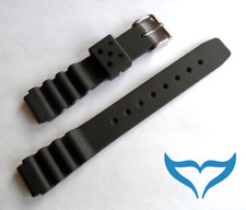 Armband Uhr Kautschuk 16mm Federsteg Schließe glänzend Band Gummi black Poseidon