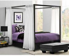 Metal Canopy Bed Frame Queen Size W/ HeadBoard Platform Modern Bedroom Gunmetal