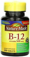 1 Bottle of Nature Made Vitamin B-12 500 Mcg, Tablets, 200-Count New