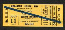 1971 Jethro Tull & Yes unused full concert ticket Alexandria VA Aqualung Fragile