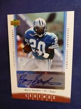 "Barry Sanders Signed 2.5"" x 3.5"" Upper Deck Legends Signature  Card with COA"