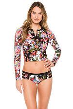 NEW Nanette Lepore Havana Rash Guard Doll Full Hipster Bottom Cover Up Set S