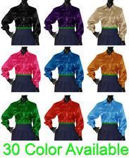 Women Satin Vintage Button Down Solid Collar RUFFLE Shirt Long Sleeve Blouse Top