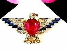 RARE EARLY 40'S CROWN TRIFARI VERMEIL STERLING WW2 PATRIOTIC RUBY EAGLE BROOCH