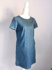 Boden Size 10 Blue Denim Short Sleeve Dress Pockets Zip Jean Mini Women's Ladies