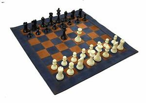 Roll-Up Leather Tournament Chess Set 19 X 19 inch Blue Gift