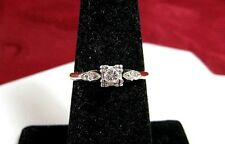FIRST LADY 14K YELLOW GOLD THREE DIAMOND 0.20 CTW ENGAGEMENT RING SIZE 6.75