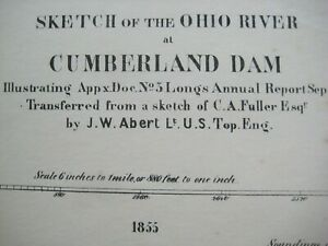 Original 1855 Survey Map SMITHLAND DAM Cumberland River Ohio Kentucky Dog Island