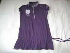 SOCCX Kurz Arm Polo Long Shirt lila silber Gr. 38 M Poloshirt