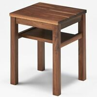 New MUJI Walnut Side Table, Wooden Stool Bench14x14x17in, Japan