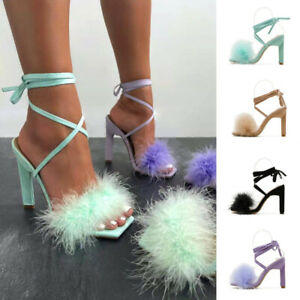 Womens Cross Strap Sandals Faux Fur Fluffy Lace-Up Square Toe High Heels Shoes