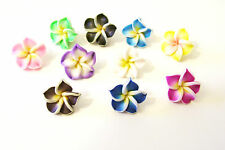 CLAY FLOWER BEADS pretty assorted colors, lot of 10, jewelry making supplies