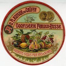 """""""AU PLANTEUR DE CAÏFFA CONFISERIE FRANCO-RUSSE"""" Etiquette-chromo origin. fin1800"""